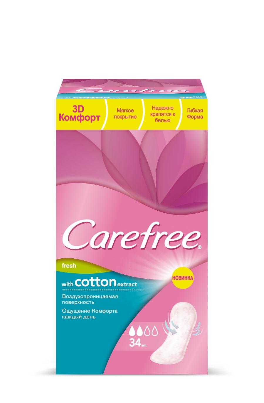 Ежедневные салфетки Carefree® with Cotton Extract fresh