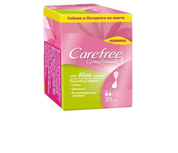 Ежедневные салфетки Carefree® СуперТонкие with Aloe Extract